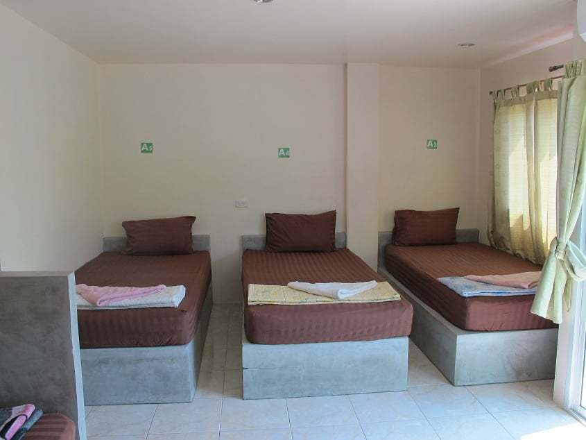Our 5 bed dorm accommodation for scuba diving courses with AC and private bathroom